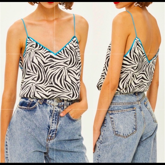 TopShop Zebra Print & Blue Piped Lined Top